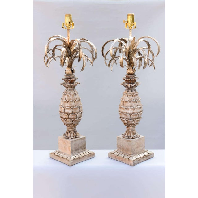 Italian Carved Wood and Metal Pineapple Form Lamps - a Pair For Sale - Image 3 of 10