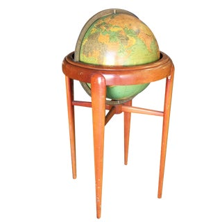 Mid-Century Mahogany Floor Globe by Replogle For Sale