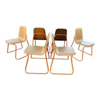 Modern Jacob Nitz Leather & Walnut Scoop Chairs With Metal Base - Set of 6 For Sale