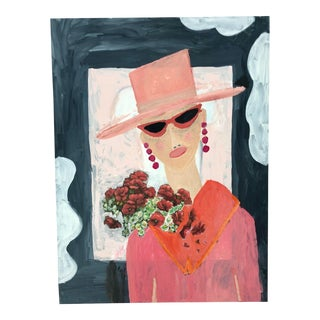 Original Pink and Orange Portrait of a Woman in Sunglasses, 2019 For Sale