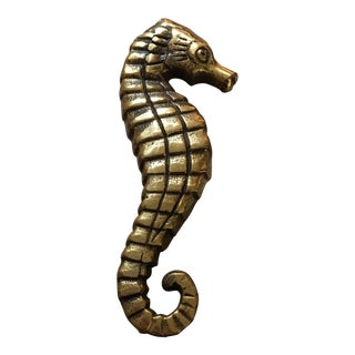 Vintage Brass Sea Horse Door Knocker For Sale