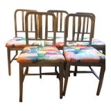 Image of 1940s Vintage Emeco Chair Set- 5 Pieces For Sale