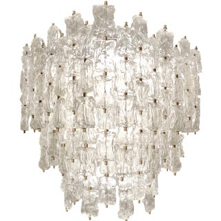 Large Venini Brass and Textured Glass Chandelier For Sale