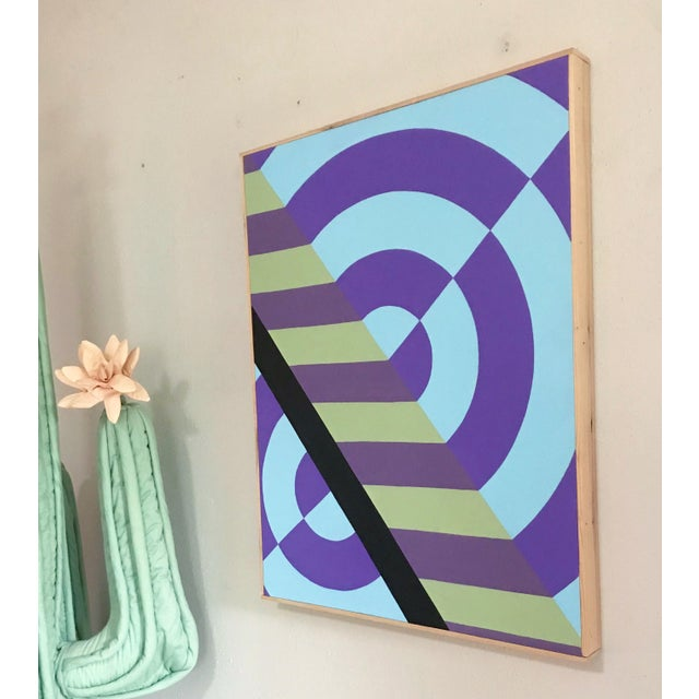 Abstract Colorful Hard Edge Abstract Op Art Painting on Canvas by J. Marquis For Sale - Image 3 of 6