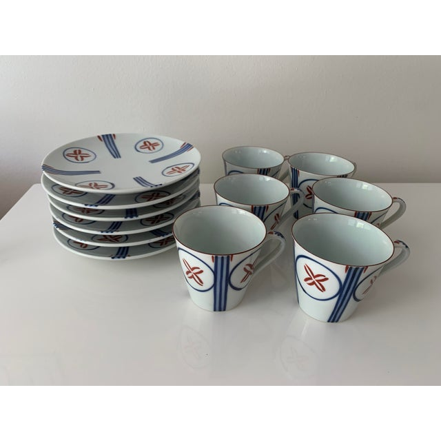 Mid Century Japanese Tea Cups and Saucers - Set of 6 For Sale - Image 10 of 13