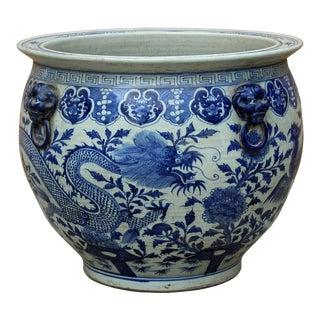 Chinese Vintage Finish Blue White Porcelain Dragons Round Pot Planter