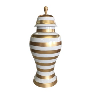 Dana Gibson Gold Stripe Ginger Jar, Medium For Sale