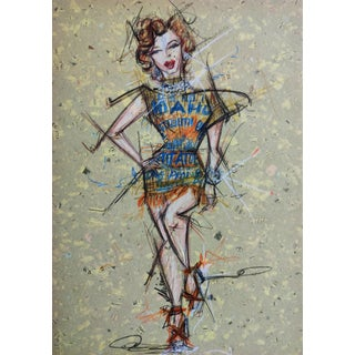 Contemporary Portrait of Marilyn Monroe in the Potato Sack Dress Work on Paper by Shirin Godhrawala For Sale