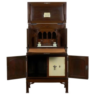 English Edwardian Mahogany Fall-Front Secretary Desk With Built-In Safe Circa 1900 For Sale