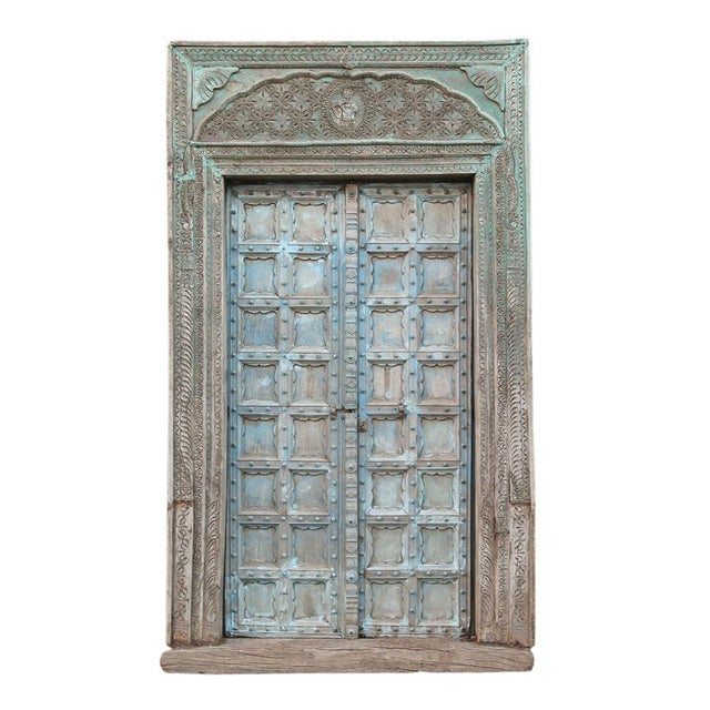 Blue Great Imposing Krishna Painted Indian Door For Sale - Image 8 of 8