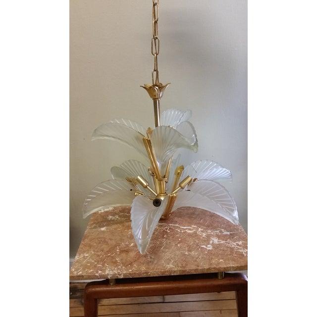 Art Deco Italian Brass & Satin Glass Chandelier - Image 11 of 11