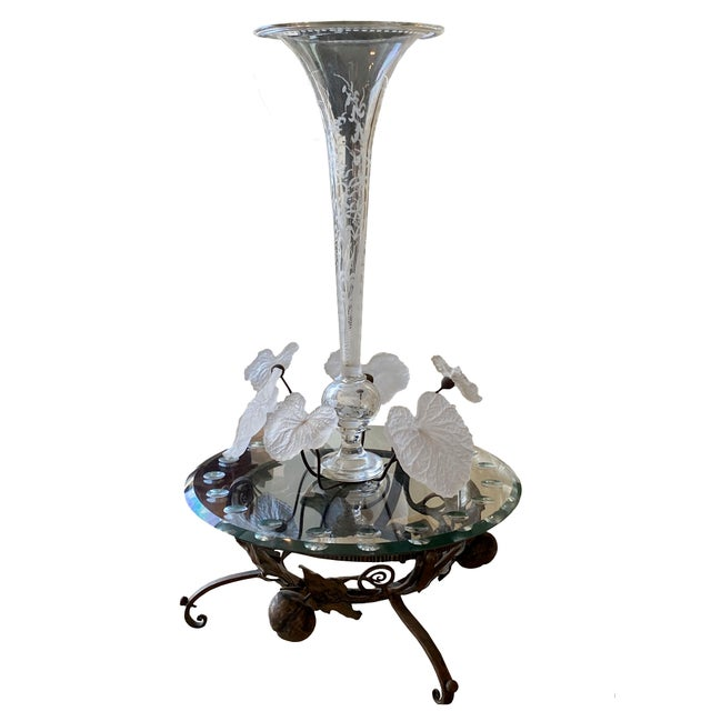 19th Century French Crystal and Iron Epergne For Sale - Image 4 of 4