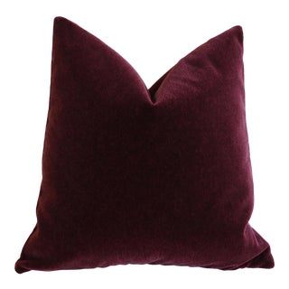 Merlot Angora Mohair Pillow Cover 18x18 For Sale