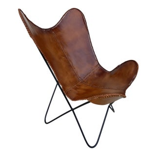 Natural Hide + Metal Hairpin Frame Butterfly Chair For Sale