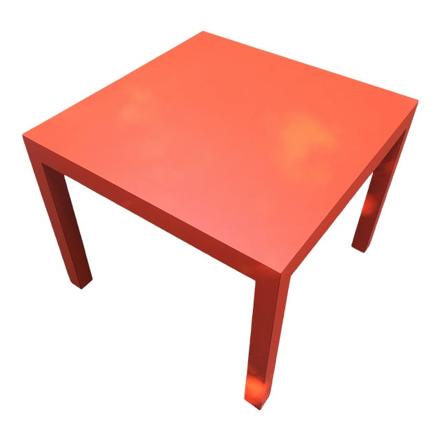 1970s Modern Tomato Red Parsons Dining Table For Sale