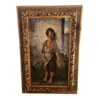 19th Cent. Oil on Canvas Signed v. Taeliani Finely Detailed of the Butchers Son For Sale