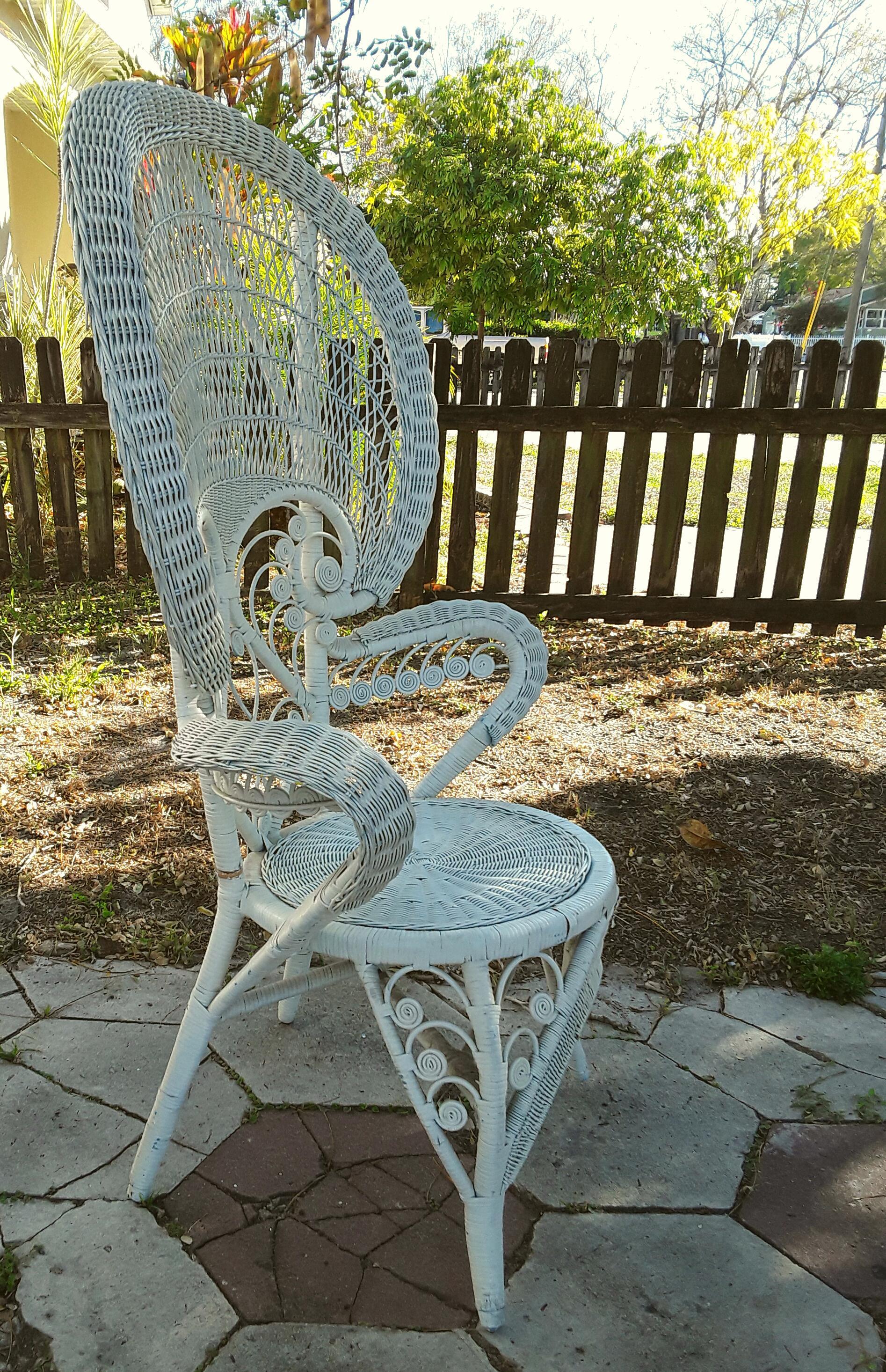 Vintage Bohemian White Wicker Peacock Fan Chair   Image 3 Of 5