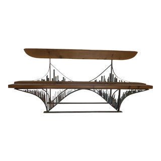 Brutalist Sculptural Bridge Bench For Sale