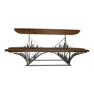 Brutalist Sculptural Bridge Bench For Sale