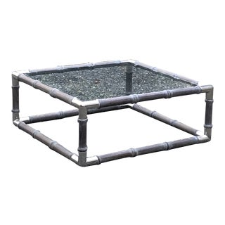 Contemporary Cerused Oak and Glass Coffee Table For Sale