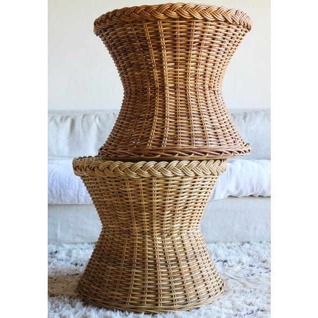 Boho Chic Vintage Mid Century the Wicker Works Rattan Handwoven High End Tulip Side Tables Franco Albini Gabriella Crespi Style - a Pair For Sale - Image 3 of 12