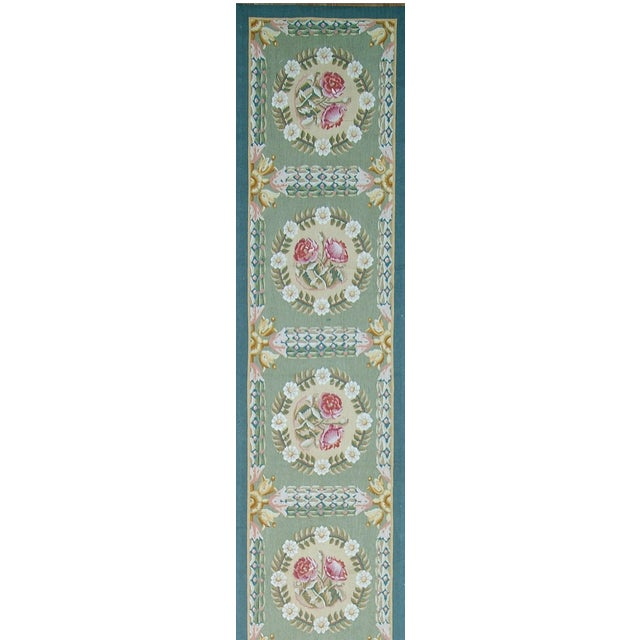 "Pasargad Aubusson Hand-Woven Wool Runner Rug - 2' 2"" X 14' 1"" - Image 2 of 3"