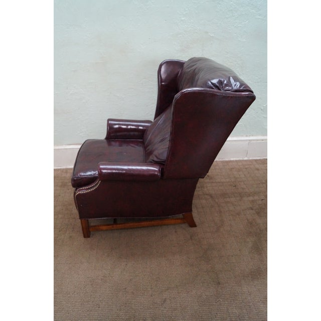 Quality Oxblood Leather Chippendale Wing Chair - Image 3 of 10