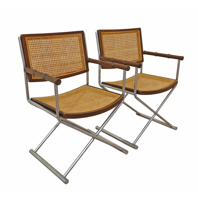 Chrome, Cane and Bamboo Directors Chairs - Pair - Image 3 of 3