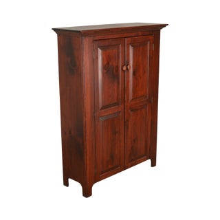 Geiser's Furniture Country Shaker Style Solid Pine Narro 2 Door Cupboard Cabinet For Sale
