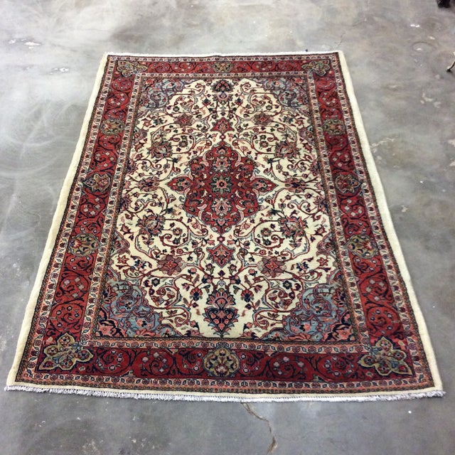 1980s Vintage Saroukh Persian Rug - 4′3″ × 6′4″ For Sale In Los Angeles - Image 6 of 6