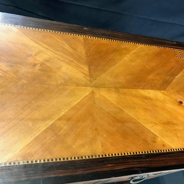French Louis XVI Style Petite Marquetry Inlaid Two Drawer Commode For Sale - Image 10 of 13