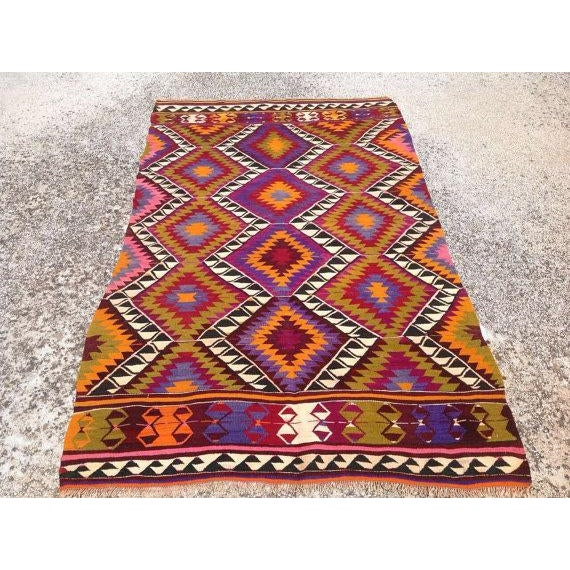 Vintage Turkish Kilim Rug - 4′5″ × 7′6″ - Image 2 of 6