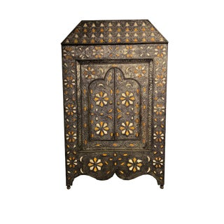 Rare Moroccan Mirror With Intricate Metal and Bone Work and Doors For Sale