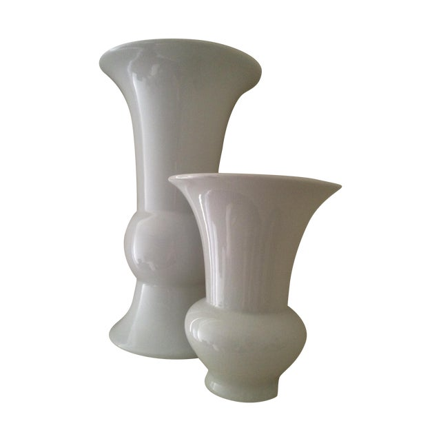 "Global Views ""Williamsburg"" White Vases - Pair - Image 1 of 4"