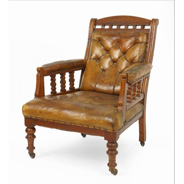 19th Century Handsome English Walnut And Distressed Leather Club Chair. Great Color And Patina.