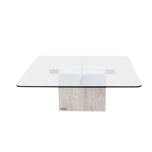 Artedi Italian Travertine & Glass Coffee Table - Image 1 of 8