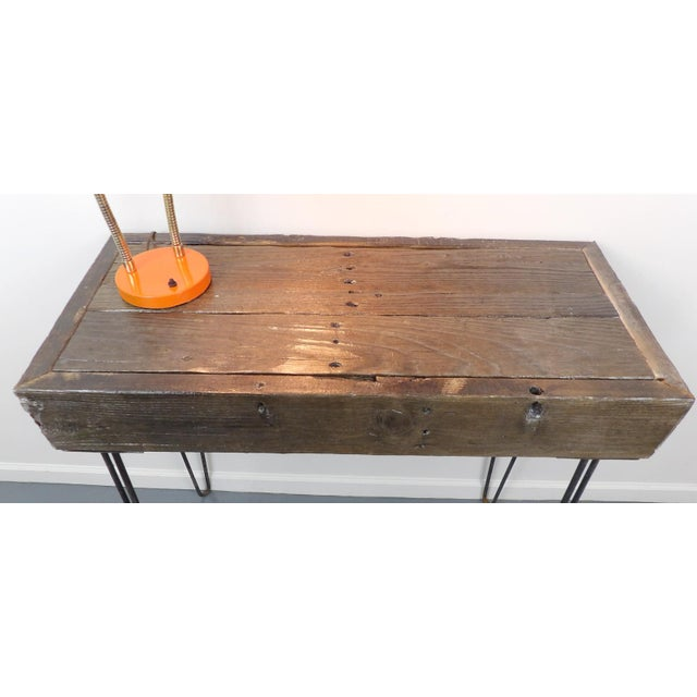 Brown Reclaimed Fingered Redwood Hairpin Legs Sofa Table For Sale - Image 8 of 11