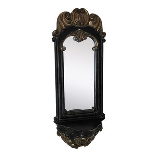 Classic Bombay Company Vintage Hand-Crafted Distressed Salerno Baroque Gold Gilted and Milkpainted Black Scrolled Shelf Mirror For Sale