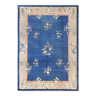 1920s Vintage Chinese Art Deco Royal Blue Rug - 9′8″ × 13′8″ For Sale