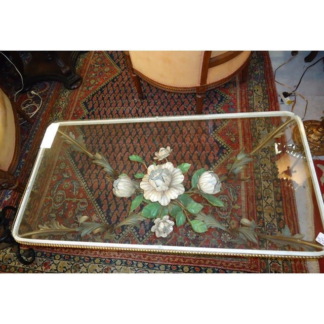 Iron & Glass Italian Tole Painted Coffee Table - Image 5 of 5