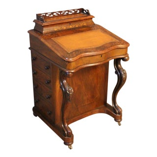 Victorian Burr Walnut Davenport Desk For Sale