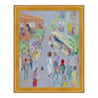 In the Street by Happy Menocal in Gold Frame, Small Art Print For Sale