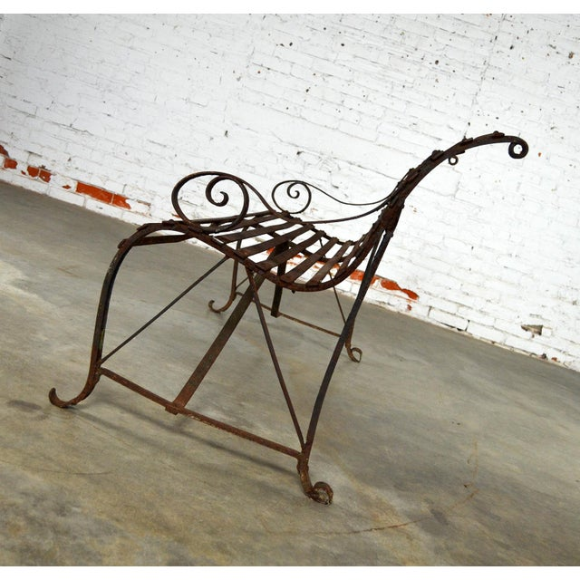 Iron Antique 19th Century Forged Strap Iron Garden Bench For Sale - Image 7 of 10