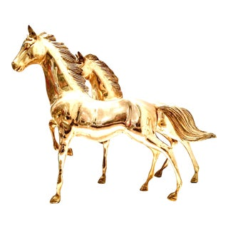 20th Century Pair Of Solid Brass Standing Galloping Horse Sculptures For Sale