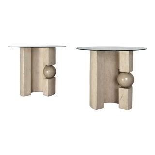 1970s Vintage Modernist Plaster Side Tables – a Pair For Sale