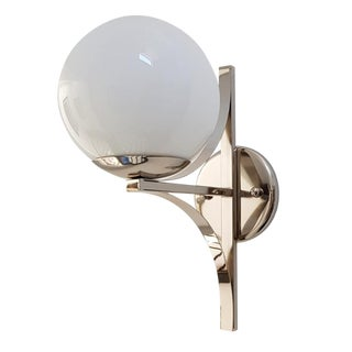 Vintage Art Deco Polished Nickel and Frosted Glass Wall Sconce For Sale