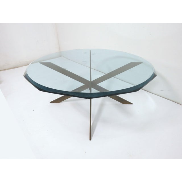 Pace Collection Leon Rosen for Pace Bronze X-Form Coffee Table For Sale - Image 4 of 10