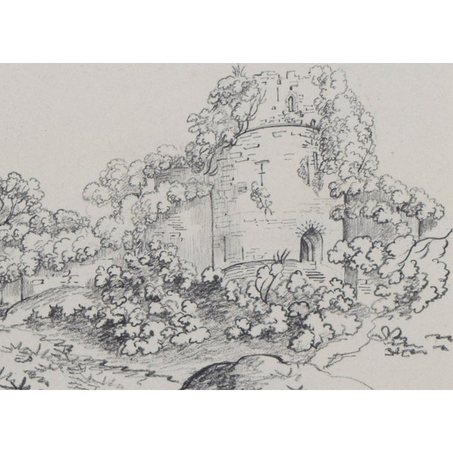 """19th Century 19th Century Antique """"Castle Ruins"""" Graphite Landscape Drawing For Sale - Image 5 of 6"""