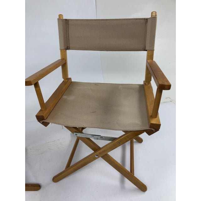 1980s Vintage Wood & Canvas Folding Director Chairs - a Pair For Sale - Image 5 of 12