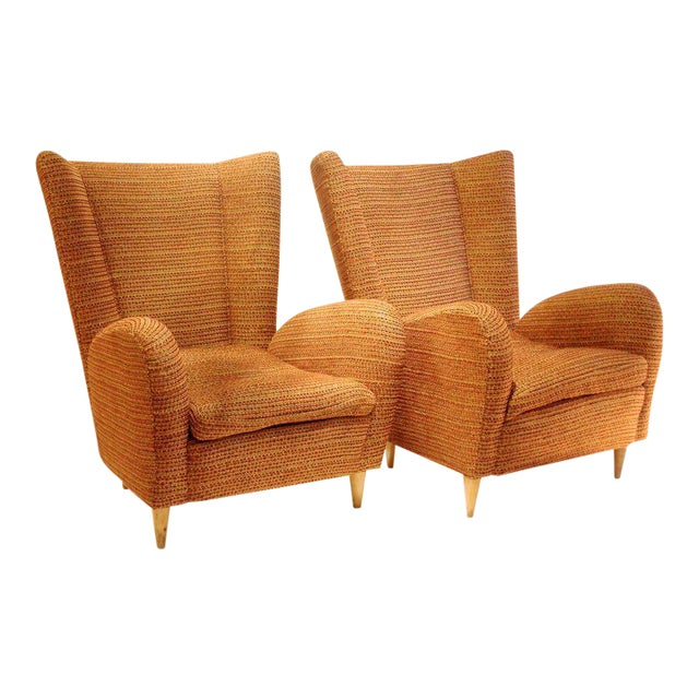 Pair of 1950s Italian Armchairs Attr. to Paolo Buffa, Robert Allen Upholstery For Sale